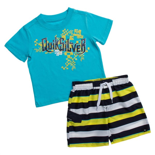 Quicksilver Toddler Boys Blue Striped 2-piece Outfit