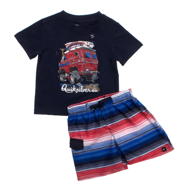 Quicksilver Toddler Boys Blue Beach Van 2-piece Outfit