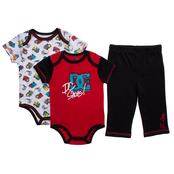 DC Infant Boys Red Creepers Bodysuit and Pant 3-piece Set