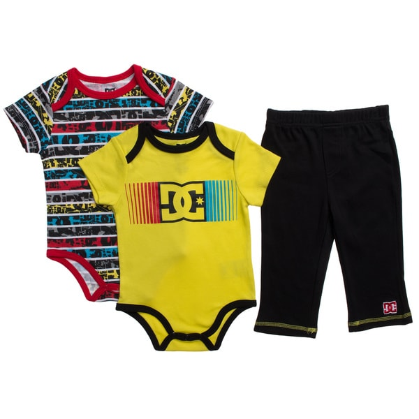 DC Infant Boys Yellow Creepers 3-piece Bodysuit and Pant Set