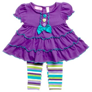 Kids Headquarters Infant Girls Purple Striped 2-piece Outfit