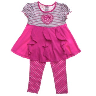 Kids Headquarters Toddler Girls Pink Stripes and Dots 2-piece Outfit