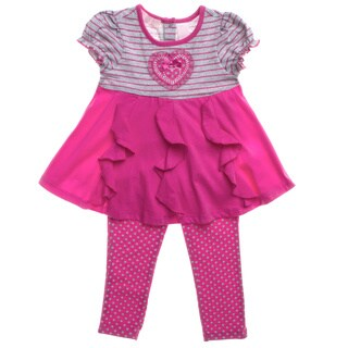 Kids Headquarters Girls Pink Stripes and Dots 2-piece Outfit