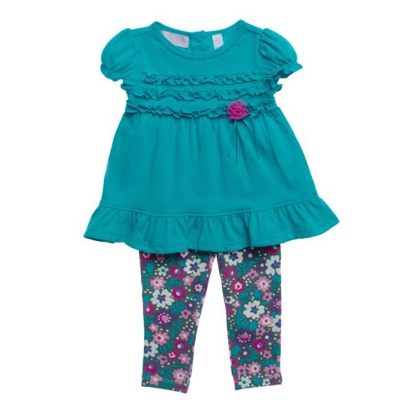 Kids Headquarters Girls Blue Floral 2-piece Capri Outfit