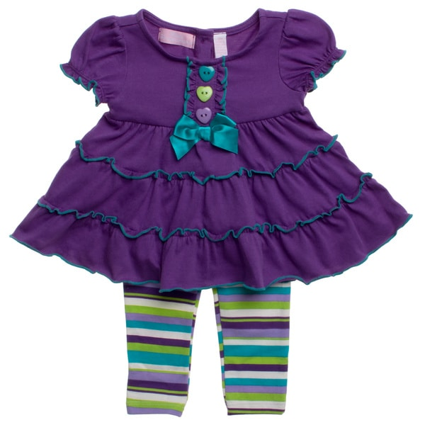 Kids Headquarters Girls Purple Striped 2-piece Outfit
