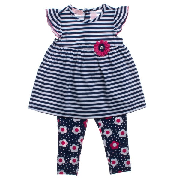 Kids Headquarters Girls Navy and White Stripes 2-piece Capri Outfit
