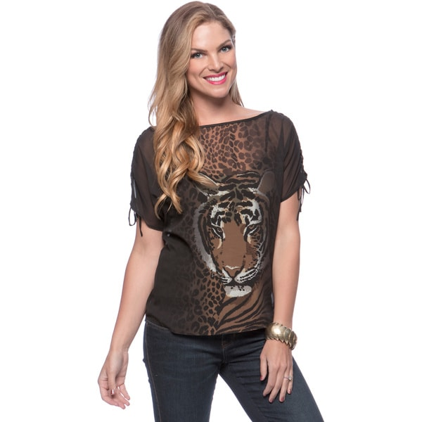 Andrew Charles Women's Black Tiger Face Semi-sheer Blouse Size Extra Small