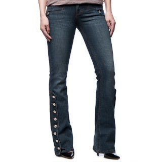 Andrew Charles Women's Vintage Wash Flare Motorcyle Jean