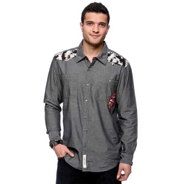 Riff Stars Men's Indigo Chambray Rolling Stones Button-up Shirt Size Extra Large