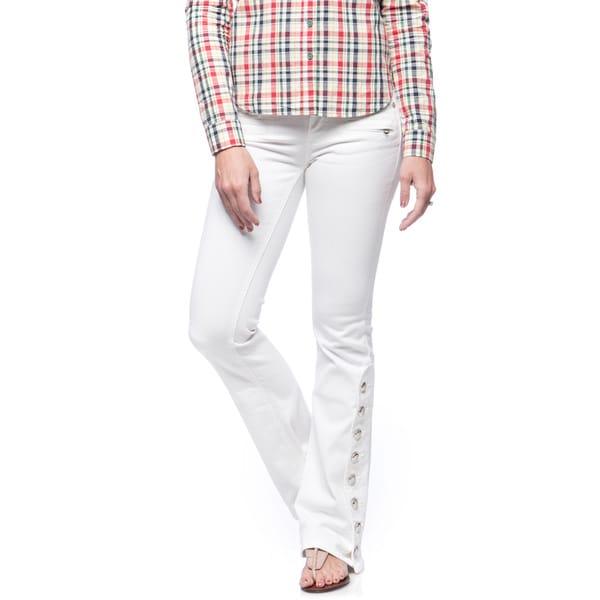 Andrew Charles Women's Amp White Moto Flare Jean