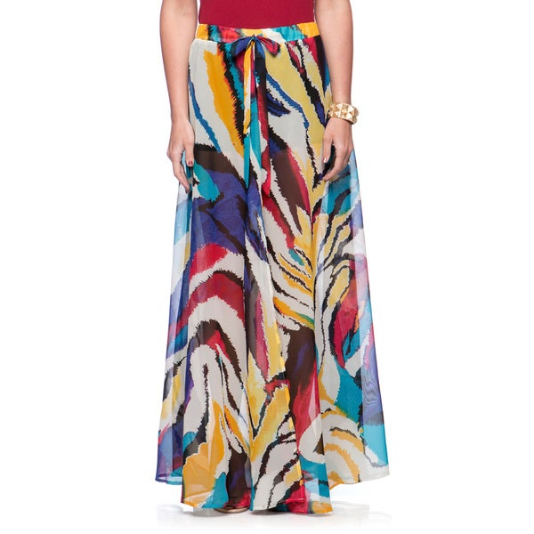 Andrew Charles Women's Colorful Stroke Print Maxi Skirt Size Large