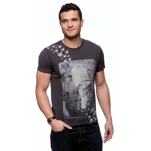 Andrew Charles Men's 'Mic and Stars' Grey Graphic T-shirt