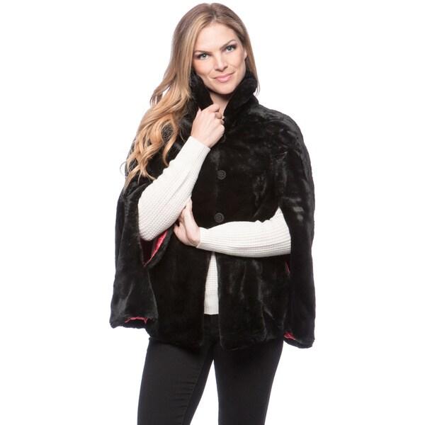 Women's Jet Black Faux Fur Poncho Size Small