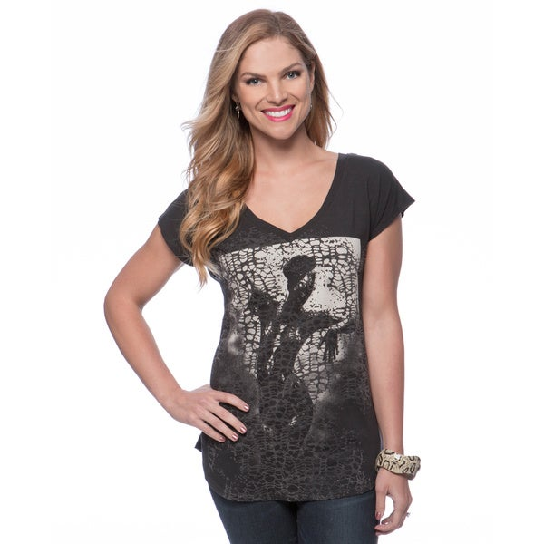 Andrew Charles Women's Black Lace and Studs Top Size Large