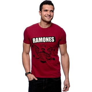Riff Men's Red Ramones Logo T-shirt Size Medium