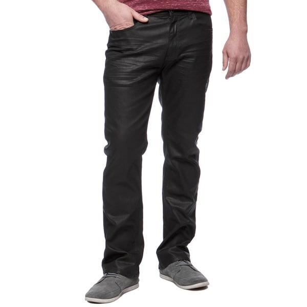 Andrew Charles Men's Black Coated Denim Slim Boot Cut Jeans