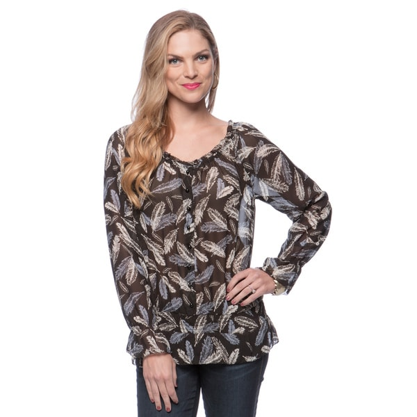 Andrew Charles Women's Phantom Grey Feather Print Top