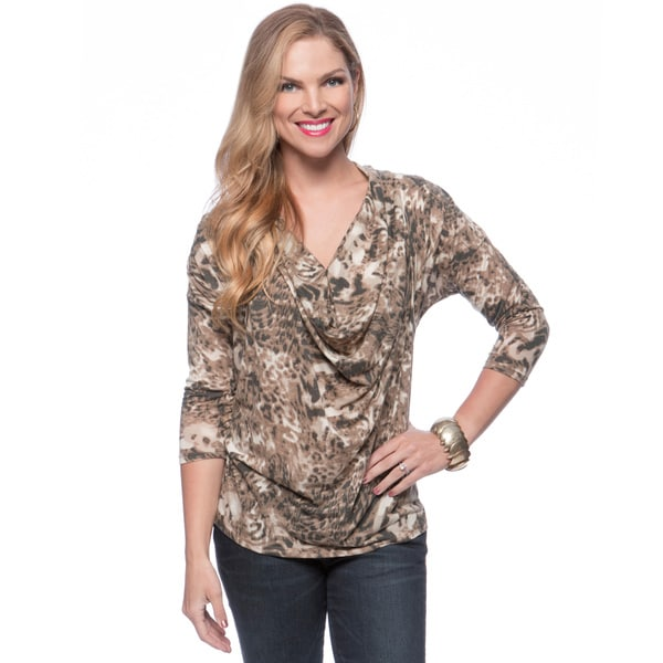 Andrew Charles Women's Brown Animal Print Top