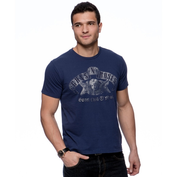 Riff Stars Men's Navy Distressed Guns 'N Roses T-shirt