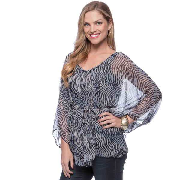 Andrew Charles Women's Blue Zebra Striped Batwing Sleeve Top X-Small