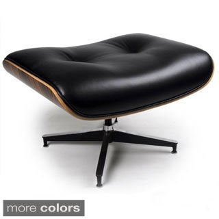 Somette Leather Black, White Zane Lounge Ottoman