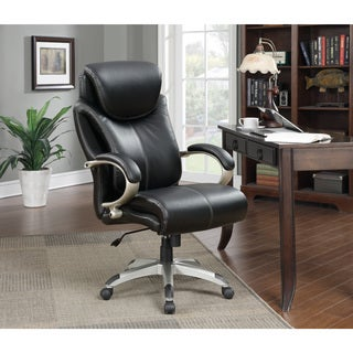 Serta Health and Wellness Big and Tall Black Executive Office Chair with Eco Friendly Bonded Leather