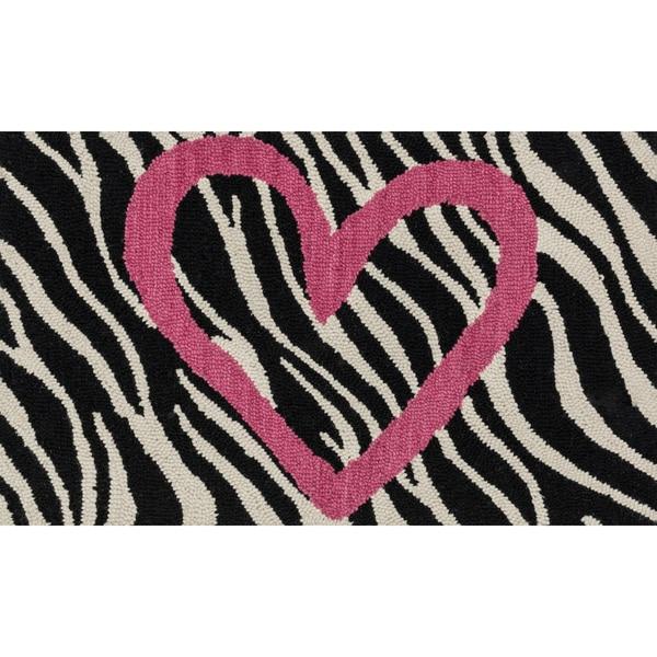 Hand-tufted Keely Ivory/ Pink Zebra Heart Rug (2'3 X 3'9