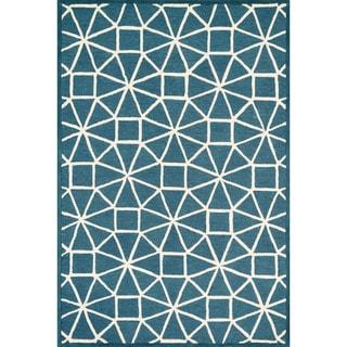 Hand-hooked Celeste Blue/ Ivory Rug (7'10 x 11'0)
