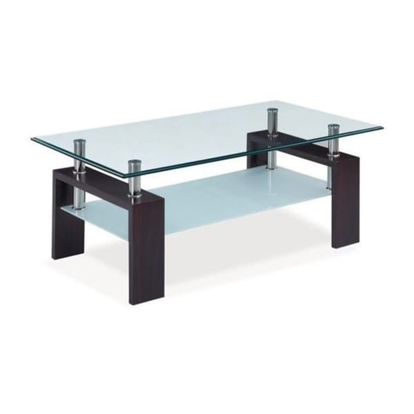 Dark Walnut Occasional Glass Coffee Table