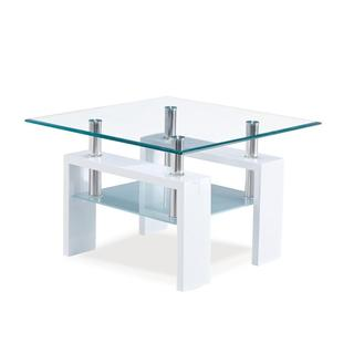 White Occasional Glass End Table