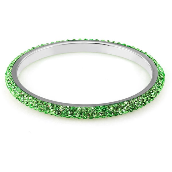 Sterling Silverplated Peridot Crystals Bangle