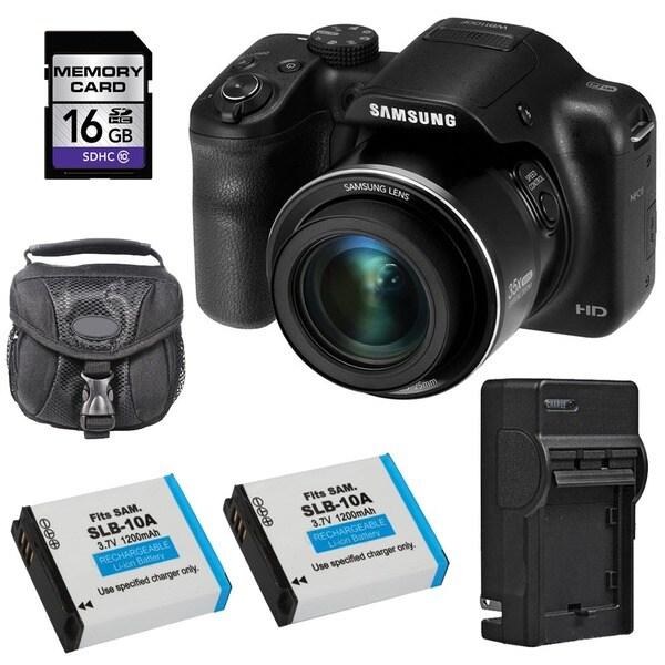 Samsung WB1100F Smart Black Digital Camera 16GB Bundle