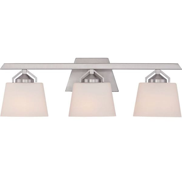 Cambridge 3-Light Brushed Nickel Finish Bath Vanity With White Shades