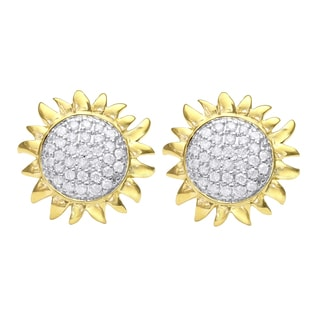 Beverly Hills Charm 14k Yellow Gold 1/4ct Diamond Sunflower Stud Earring (H-I, I2, I3)