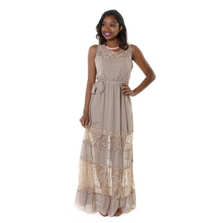 Hadari Women's Beige Sleevless Maxi Dress