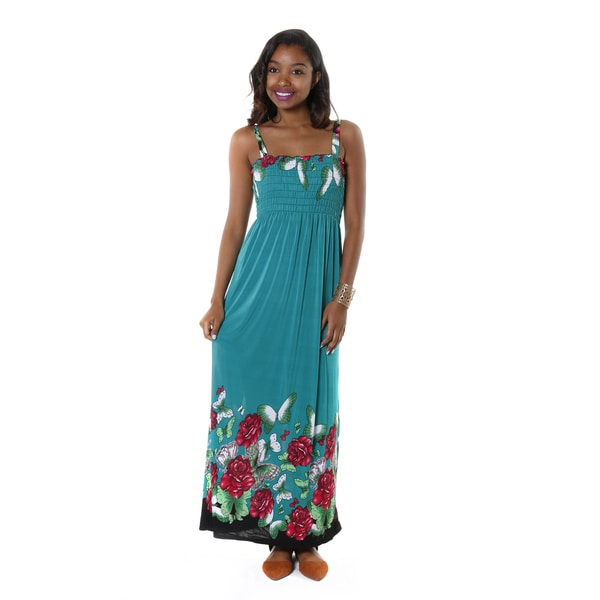 Hadari Women's Bright Floral Sleevless Maxi Dress