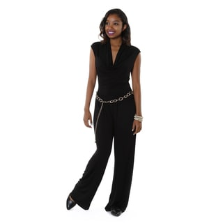 Hadari Women's Black Cowl Neck Jumpsuit