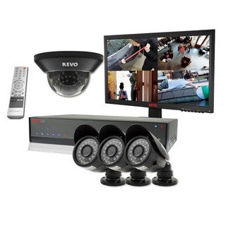 Revo Lite 4-channel 500GB DVR Surveillance System with 4 700TVL Cameras and 22-inch LED Monitor