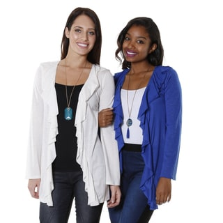 Hadari Women's Rayon Blend Open Cardigan (Set of 2)