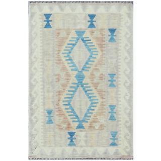 Herat Oriental Afghan Hand-woven Tribal Kilim Rust/ Gray Wool Rug (2' x 3'2)