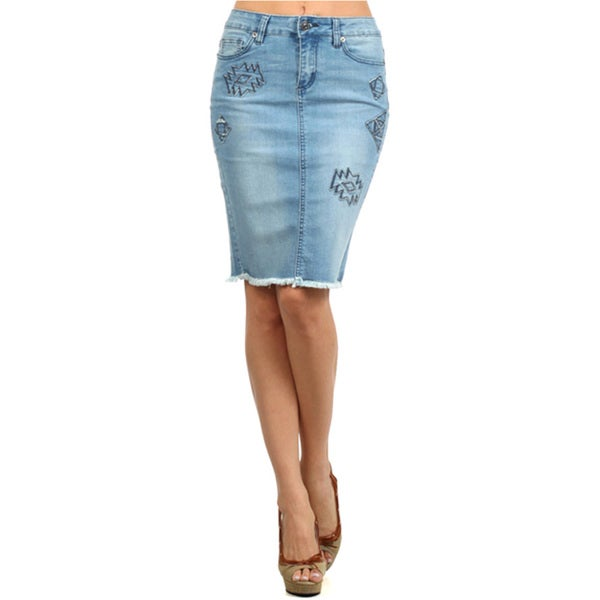 Tabeez Women's Denim Pencil Skirt with Stitching