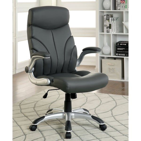 Furniture of America Kerry Modern Grey Leatherette Office Chair