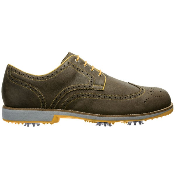 FootJoy Men's FJ City Tobacco/Yellow Golf Shoes