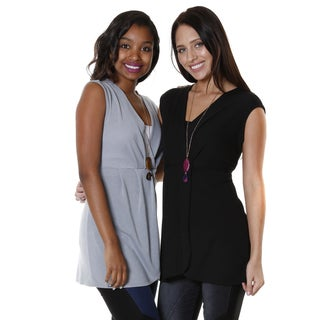 Hadari Women's Cap Sleeve V-neck Top (Set of 2)