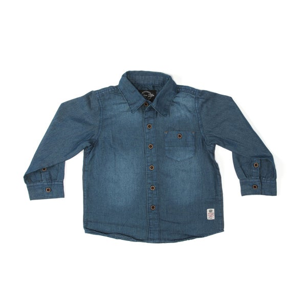 Something Strong Boys Denim Shirt in Blue