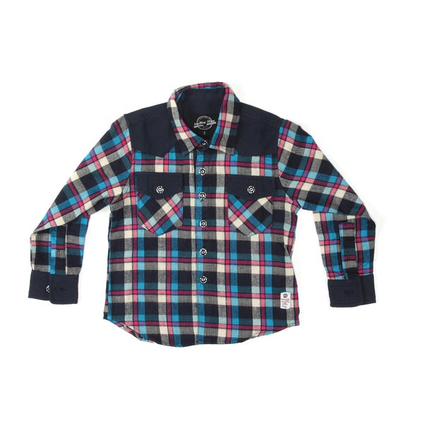 Something Strong Boys Long Sleeve Western Style Shirt in Orange/Black