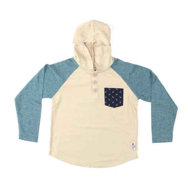 Something Strong Boys Raglan Cut Hooded Henley in Cream/Blue