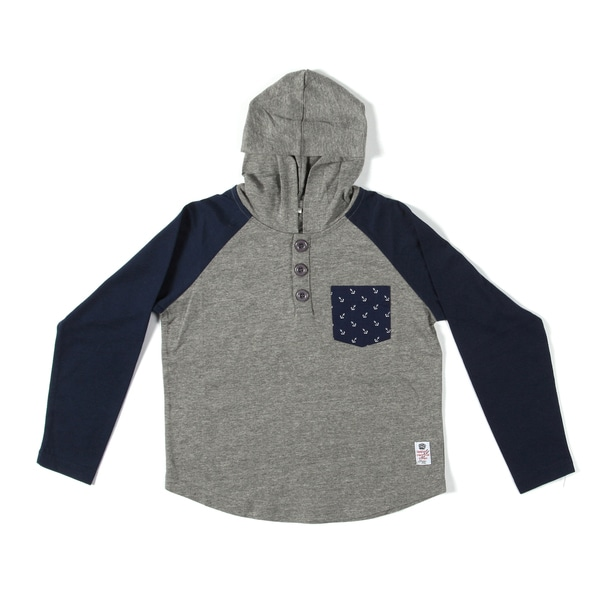Something Strong Boys Raglan Cut Hooded Henley in Grey/midnight