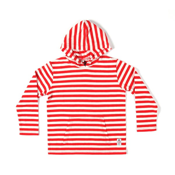 Something Strong Boys Striped Pullover Hoodie in Red