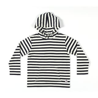 Something Strong Boys Striped Pullover Hoodie in Grey/White